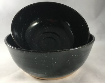 Pottery bowls, ceramic bowl, black bowl, handmade bowl, puppy bowls, unique bowls, handmade bowls, nesting bowls made in North Carolina