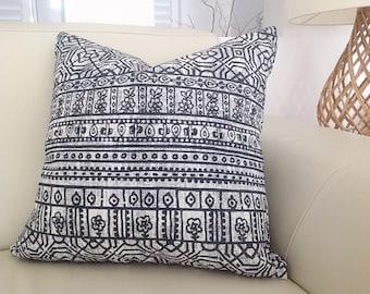 Tribal Cushions, Tribal Pillows Aztec Charcoal Black, Cobalt Blue, Seafoam, Coral Cushion Cover, Pillows