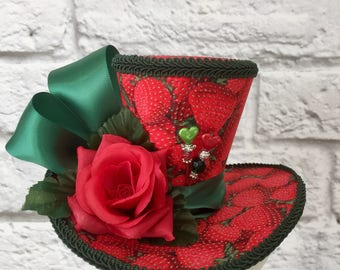 Strawberry Fascinator Mini Top Hat, Alice in Wonderland Mini Top Hat, Mad Hatter Top Hat