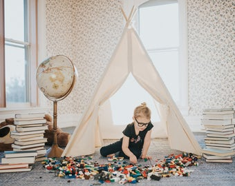 Canvas Kids Teepee, Kids Teepee, Can Include Window, Tent, Play Tent, Kids Tee pee, Playhouse, Ready to Ship, Ships FULLY ASSEMBLED
