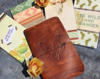 Leather Prickly Pear Cactus Traveler's Notebook/Planner