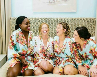 SHORT Floral Satin Bridal/Bridesmaid Robes/Gowns/Kimono. 8 colours