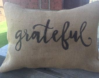 Burlap Grateful Pillow Cover, 12x16 Throw Pillow Cover, Home Decor