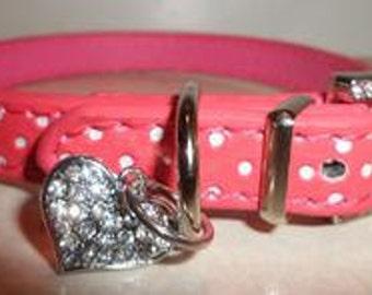 Pink Polka Dog Dog Collar and Leash Set!