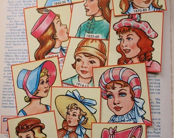 21 Vintage protraits of ladies Hats through the ages, ephemera, scrapbooking
