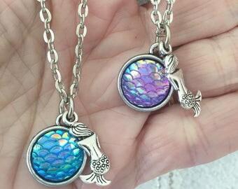 Mermaid BFF Necklaces/ 2 Mermaid Scales Necklaces/ Mermaid Charm Necklaces/ Double Sided Scales/ Best Friend Mermaid Chokers/ Beach Jewelry