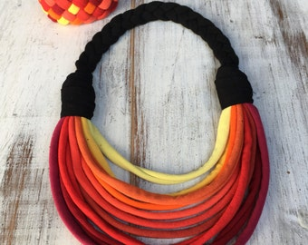 Autumn Multistrand recycled fabric jewelry set upcycled fiber necklace tshirt yarn necklace bracelet
