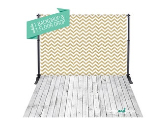 Gold Glitter Chevron & White Front Porch – Photography Backdrop Combo