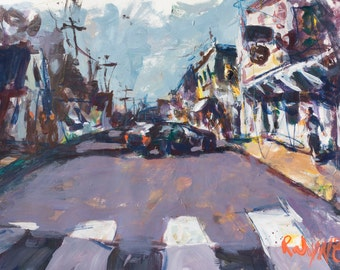 Original Abstract Cityscape Painting, Affordable Maine Artwork For Sale