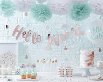 Baby Shower Decorations Mint and Gold, Lovely Decorations including Paper Tableware, Baby Shower Banner and Paper Decorations, Baby Shower