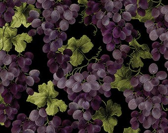Luscious Grapes on Vines, Vineyard Classics II, Kanvas for Benartex (By 1/2 yd)