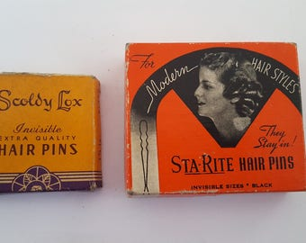 Vintage 1920's to 1930's hair pins in original boxes, Scoldy Lox and St a - rite hair pins for Modern Hair Styles, great graphics