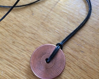 Copper vinyl Dub plate record disc Choker necklace