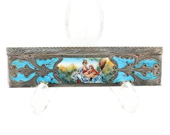 19th century French Comb -Sterling silver & Blue Enamel w/Lover Scene-Rare