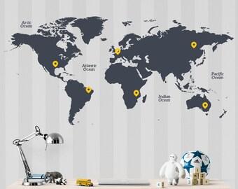 Children World Map Wall Sticker - World Map Wall Decal - Nursery Map Wall Sticker
