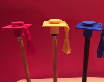 School Color Graduation Caps with tassel