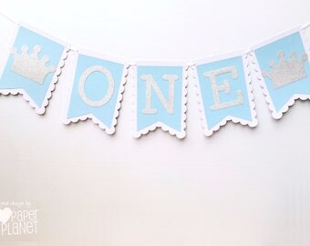 Blue ONE Banner - Prince Crown. First birthday party, bunting, garland, dessert table. Little prince, silver glitter crowns. Photo prop.
