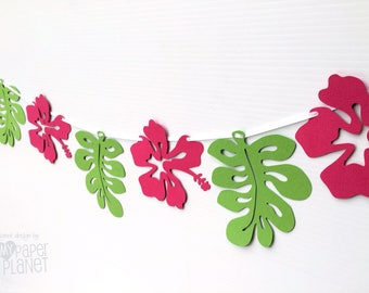 Hibiscus Garland. Luau, Birthday party banner. Bright pink flowers, green leaves. Hawaiian party, baby shower, Summer party, jungle leaf.