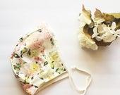 baby bonnet // pink floral // baby gift // toddler sunbonnet // easter bonnet