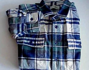 L.L. Bean Vintage Scotch Plaid Flannel Shirt Black and White with a touch of deep Forest Green and Blue Size XL