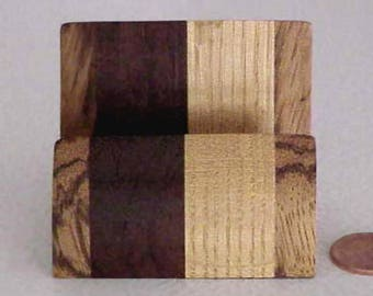 Custom Made Business Card or Cell Phone Holder from Multi-Colored Laminated Exotic Wood from the Mid-Century Modern Era