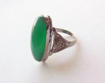 1920s sterling silver rhodium Art Deco chrysoprase green glass navete ring size 6.75