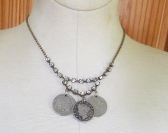 Rhinestone and historic coin drop choker bib necklace handmade