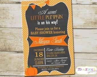 Little Pumpkin Baby Shower Invitation, Pumpkin Baby Shower Invite, Lil Pumpkin Baby Shower Invitation, 4x6 or 5x7 1234-A