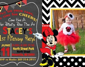 MINNIE MOUSE Birthday, Minnie Mouse Invitation, Minnie Birthday Card, 1st Birthday Invitation, Girls Invitation, Polka Dot, Minnie Mouse