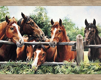 """Pleasant Pastures-Horses~Digital Panel 24"""" x 44""""~Cotton Fabric,Craft,Quilt,~NOrthcott~Fast Shipping,N360"""