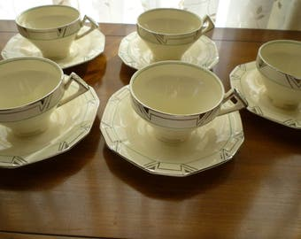 Tudor Dinner Ware Cups ~ Art DecoPattern, TUE2 by Tudor England [TUETUE 2] Five, 5 cups and saucers. Platinum Lines, single Lime green line.