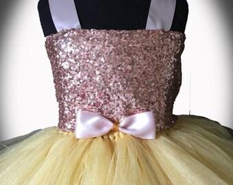 Rose Gold Flower Girl Tutu Dress