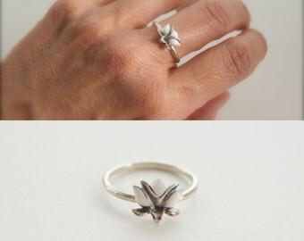 NEW Lotus ring - enamel lotus ring - lotus flower ring - white lotus flower - yoga symbol ring - purity