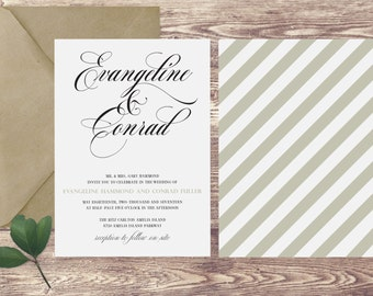 The Amelia Wedding Invitation and RSVP Set // Custom Personalized // Invite Card Suite