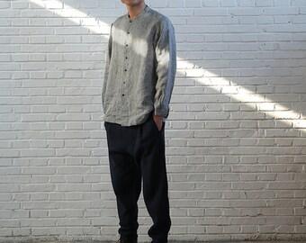 563---Men's Yarn Dyed Linen Shirt, Cheongsam, Made to measure.