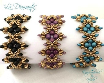 "Beading Pattern: ""La Diamanta"" Bracelet in English D.I.Y"