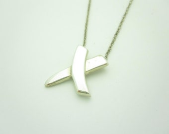 """Tiffany & Co. Paloma Picasso X Sterling Silver Modern Necklace 17"""""""
