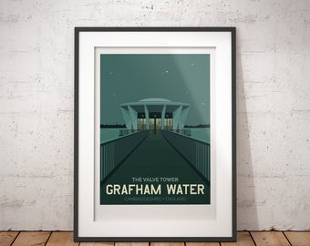 Grafham Water, Valve Tower, Cambridgeshire, England, UK - signed travel poster print