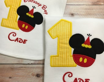 1st , 2nd , or 3rd Mickey Mouse Embroidered T-Shirt or Bodysuit with Birthday Bib, Disney Birthday Outfit, Mickey Mouse Shirt, Mickey Bib