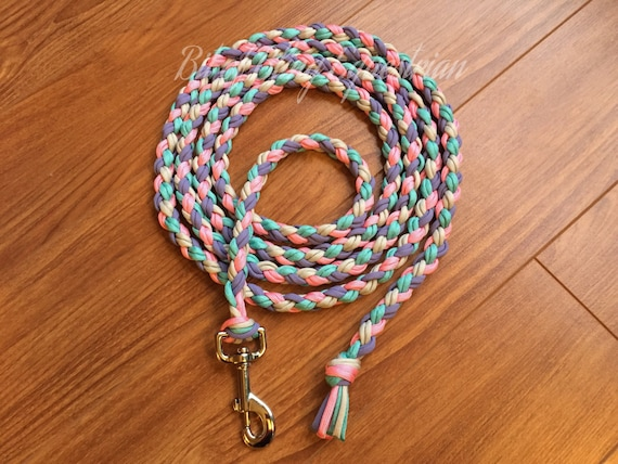Springtime Lead Rope - Rose Pink, Turquoise, Lilac and Silver Grey - 8 feet - READY TO SHIP