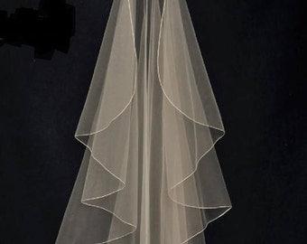 Waterfall Cascade Style Pencil Edge Fingertip Wedding Veil
