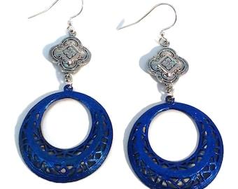 Sapphire Blue Dangle Hoop Earrings, Hypo Allergenic, Nickle Free, BOHO, Silver Plated Brass, Modern Earrings, Gift for Her