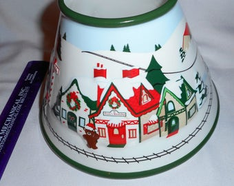 White Barn Candle Shade Topper Christmas Village Scene