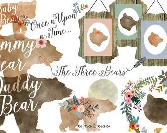 Floral bear clipart, Watercolour woodland clipart, Woodland bear clipart, Baby bear clipart, Woodland bear scrapbook, Woodland nursery decor