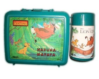 Vintage Disney Lion King Simba Timon Pumba Hakuna Matata Green Blue Lunch Box & Thermos Set