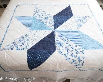Pre-Order Farmhouse Blue Floral Star Quilt-Throw