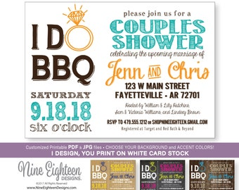IDoBBQ Couples Shower INVITATION, Barbeque Bridal Shower. Custom Printable pdf and jpg invitation. I design, you print.