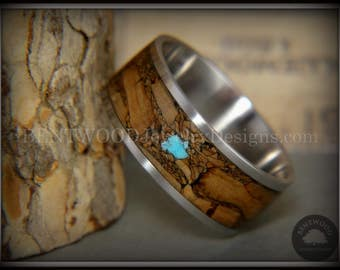 """Bentwood Ring - """"Figured Brown Turquoise"""" Mediterranean Oak Burl Wood Ring with Turquoise on Surgical Grade Stainless Steel Comfort Fit Core"""