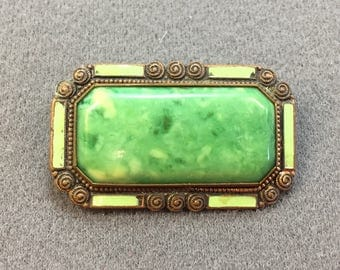 Art Deco Green Enamel and Celluoid Brooch.  Free shipping