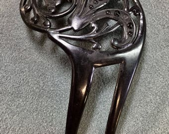 Art Nouveau Black Celluoid Hair Comb